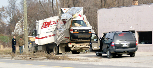 Truck hits railroad viaduct