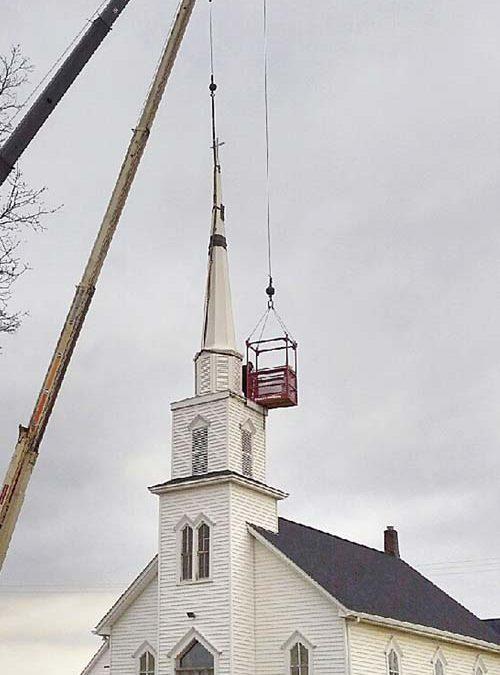 Steeple reinstalled at Goodland church